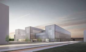 Das EcoMat in der Airport-Stadt bündelt die Kompetenzen von Wirtschaft und Wissenschaft im Bereich Leichtbau. Quelle: huber staudt architekten bda