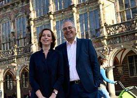 Bock Bio Science-Inhaber Friederike und Stephan von Rundstedt freuen sich über die Auszeichnung mit dem Bremer Umweltpreis 2019. Quelle: BAB/ Frank Pusch