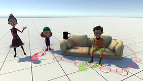 first.stage ermöglicht die Platzierung von Figuren und Objekten im virtuellen Raum. Bewegungen werden mit Hilfe der farbigen Markierungen geplant und umgesetzt.Quelle: first.stage
