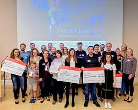 Die Preisträgerinnen und Preisträger der Campusideen 2018.  Copyright: BRIDGE / Frank Pusch