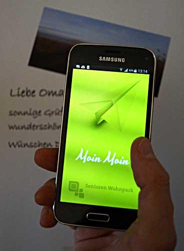 ^Senioren können die Gruß-App auch ohne Smartphone nutzen. Foto: Residenz-Gruppe Bremen