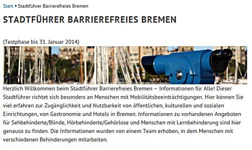 Bremen online informiert jetzt über die barrierefreie Zugänglichkeit von öffentlichen Einrichtungen.