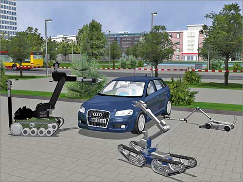 "Szene aus der Virtual-Reality-Simulation ""Remote Controlled Vehicle Simulation (RCVS)"""