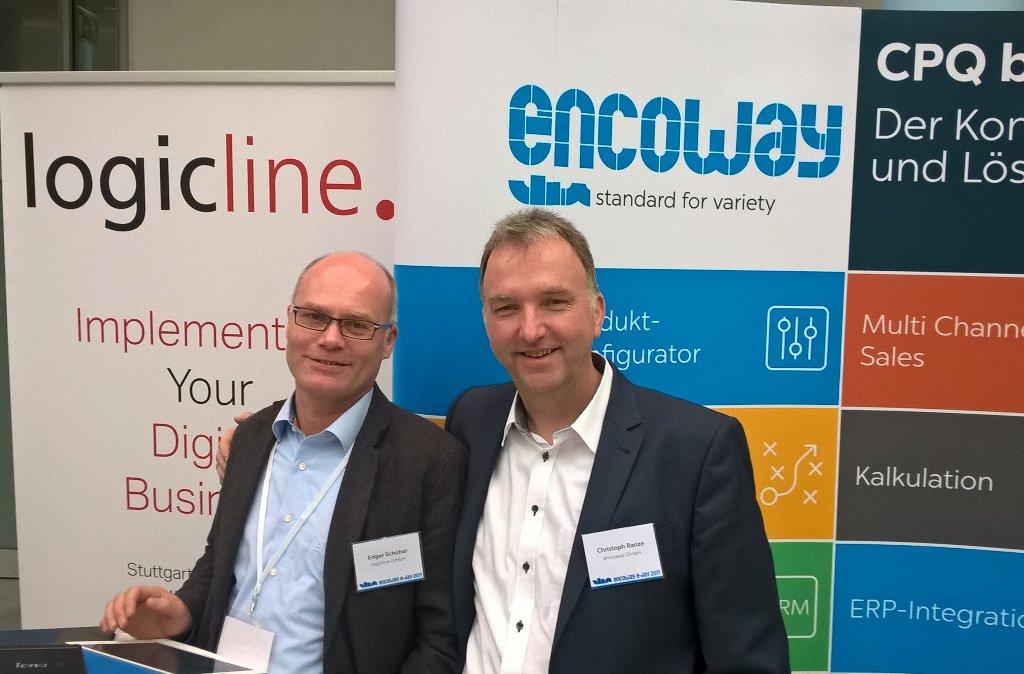 Freuen sich über die Unterzeichnung des Übernahme-Vertrages, von links nach rechts: Edgar Schüber (Gesellschafter und Geschäftsführer von logicline) und Christoph Ranze (Geschäftsführer von encoway)
