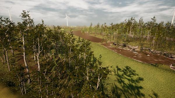 Bild von simuliertem Wald und Wiese